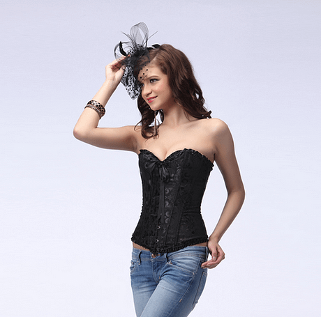 Sexy Lingerie Steel Bustiers Satin Embroidered Lace Up Corset