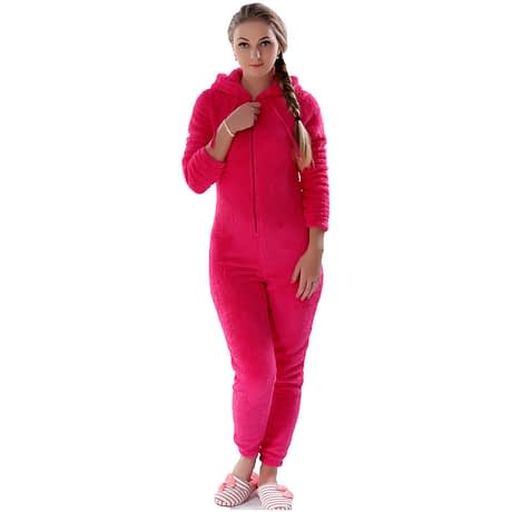 Winter Warm Pajamas, Women's Sleepwear Fleece Pajamas Set, Lounge Hooded Pajamas 1