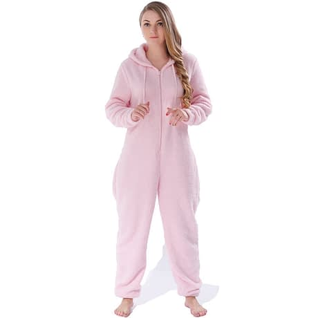 Winter Warm Pajamas, Women's Sleepwear Fleece Pajamas Set, Lounge Hooded Pajamas 2
