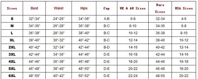 Chart s m l 6xl