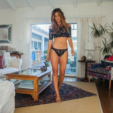 Lace Bralette & Panties, Sexy Women's Plunge Underwear Set, Bra & Brief Set, Transparent Black See Through Tube Top 4