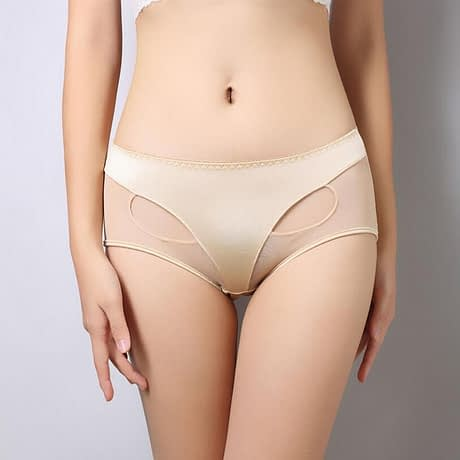 Women's Solid Sexy Briefs, Mid-Rise Ladies Lingerie, Girls Hollow Out 4