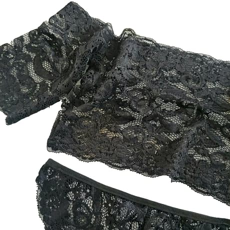 Lace Bralette & Panties, Sexy Women's Plunge Underwear Set, Bra & Brief Set, Transparent Black See Through Tube Top 2