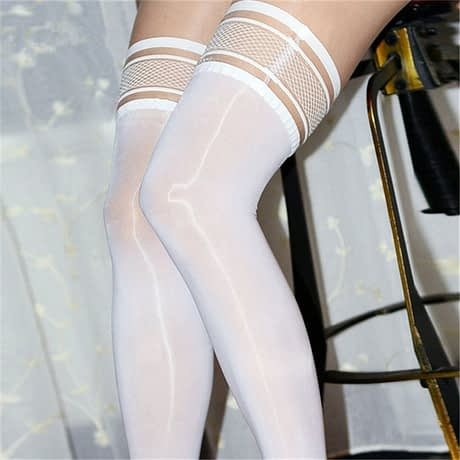 Sexy Lingerie, Women's Oil Shiny Sexy Lace Stay Up Stockings, Female Elastic Thigh High Long Nylon Stockings 1