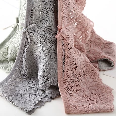3pcs/lot, Sexy Lace Panties, Women's Fashion Cozy Lingerie, Tempting Pretty Briefs, Cotton Low Waist, Cute Women Underwear 1