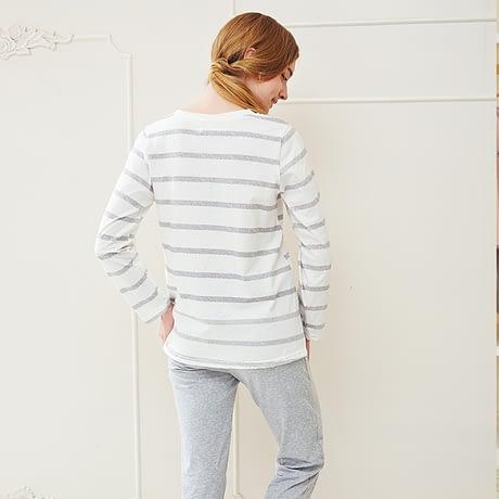 Pajamas, Cotton Stripes Sleepwear, Casual Long Sleeve Nightgown, O-neck Women Pajama Set Bottom Shirts +Long Pants 1