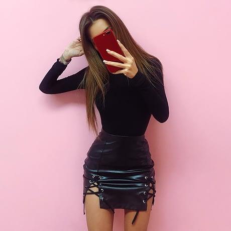 Cotton Long Sleeve High Neck Skinny Bodysuit, Women's Solid Sexy Bodysuit, New Fashion Bodycon 1