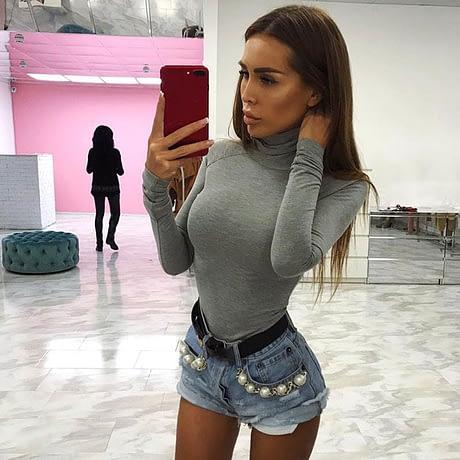 Cotton Long Sleeve High Neck Skinny Bodysuit, Women's Solid Sexy Bodysuit, New Fashion Bodycon 2